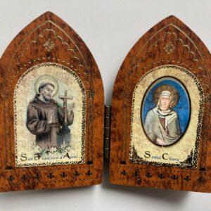 ícone de São Francisco e Santa Clara em madeira