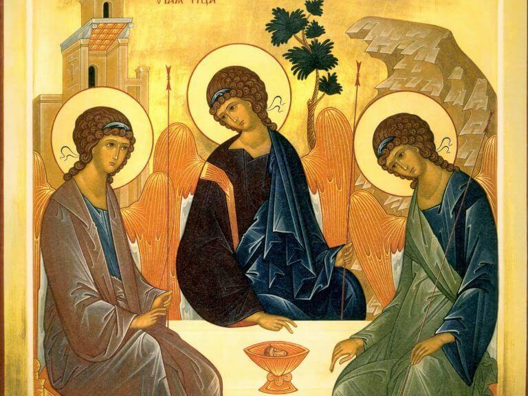 ícone do mistério da Santíssima Trindade: Pai, Filho e Espírito Santo.