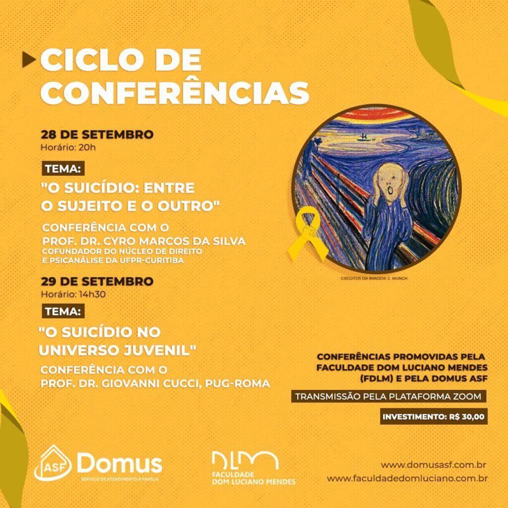 convite para o ciclo de conferências sobre a saúde mental e prevenção ao suicídio